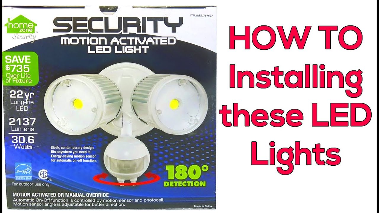 installing a motion detector led light plus wire nut lesson  [ 1280 x 720 Pixel ]