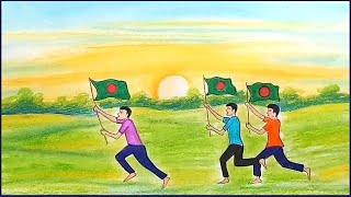How to draw scenery of 16 December Victory day of Bangladesh / oil pastel painting