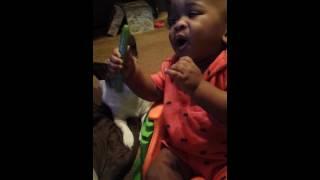 Eating a celery stalk