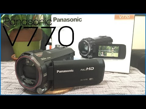 Panasonic HC V770 HD Camcorder Unboxing, Features, & Accessories