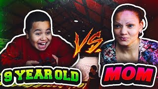 1v1 9 YEAR OLD BROTHER VS SAVAGE MOM!!! FUNNY 😂 MOM WAS RAGING WITH KAYLEN!!! OMG NBA 2K18 1V1 GAME