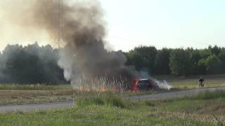 Wypadek i pożar załogi Osowiecki/Piwoński -24 Rajd Rzeszowski OS Glinik