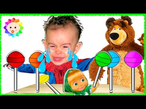Thumbnail: Spider Baby Crying and Learn colors- Colorful Lollipops Bad Masha and the Bear Finger Family Song #2