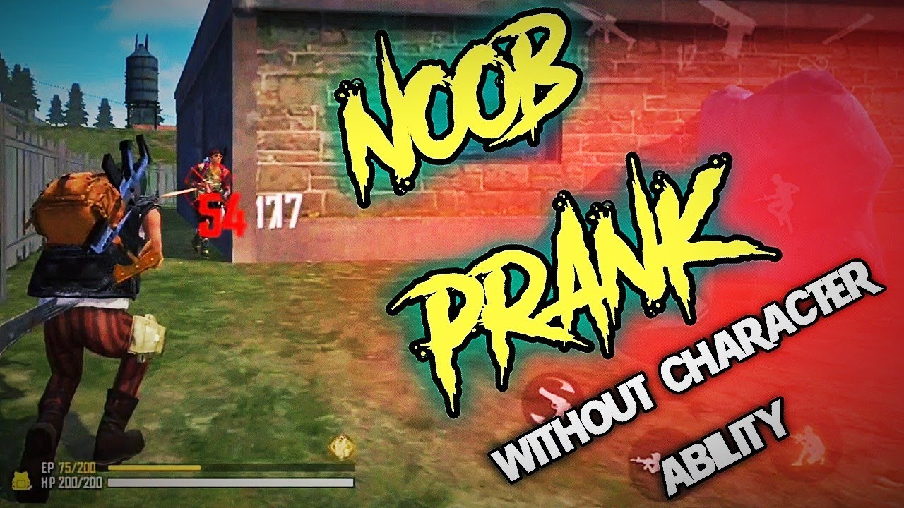 NooB Prank character ability ছাড়া || Andrew character || FREE FIRE