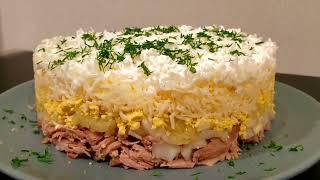 Рецепт нежного салата с маринованным лучком. Вкусный салат на Новый Год!