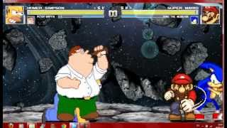 Mugen Homer and Peter vs Super Mario and Sonic