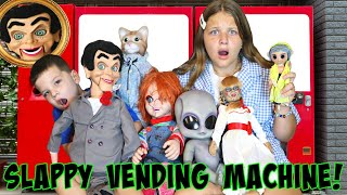 SLAPPY VENDING MACHINE WITH VILLAINS!! Aubrey & Caleb Play a Game with Coraline, Annabelle & Alien!
