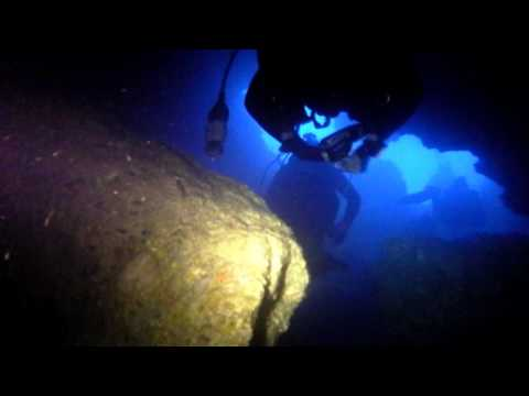Diving in caves and tunnels La Madraque. Southern France