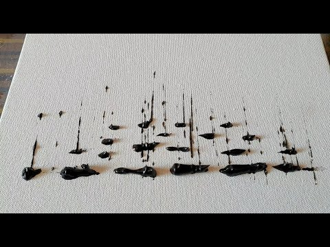 Very Easy / Sail Boats /Black & White / Abstract Painting Demonstration / Daily Art Therapy/Day #032