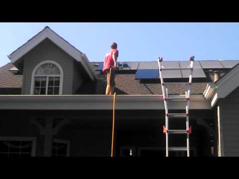 Clearview cleaning roof solar panels