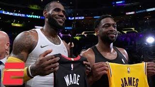 LeBron James, Dwyane Wade hug, swap jerseys in final meeting as Lakers win vs. Heat | NBA Highlights