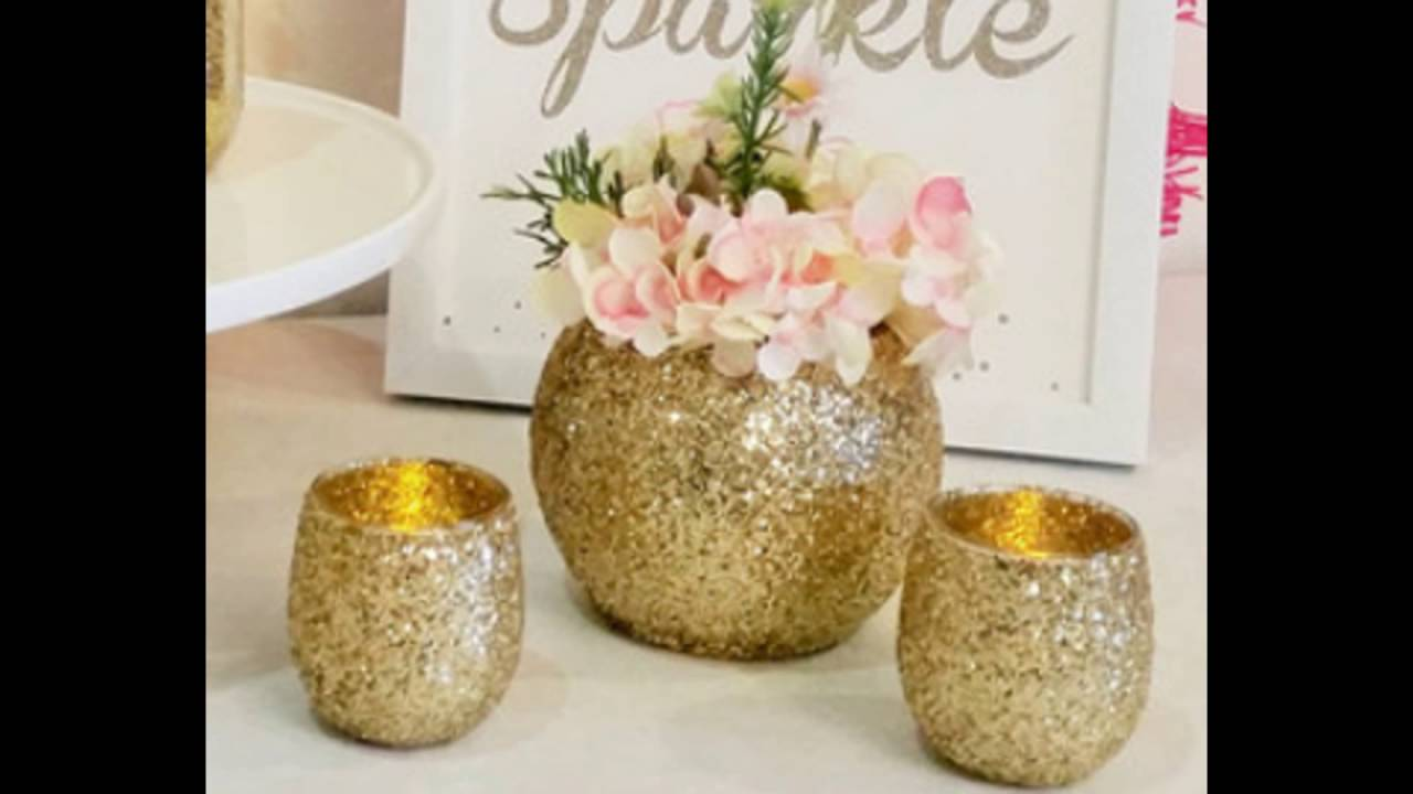 Rose and glittery gold vase centerpiece youtube
