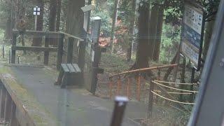ほうらい丘駅を通過する比叡山鉄道坂本ケーブル「福」号下りの前方車窓