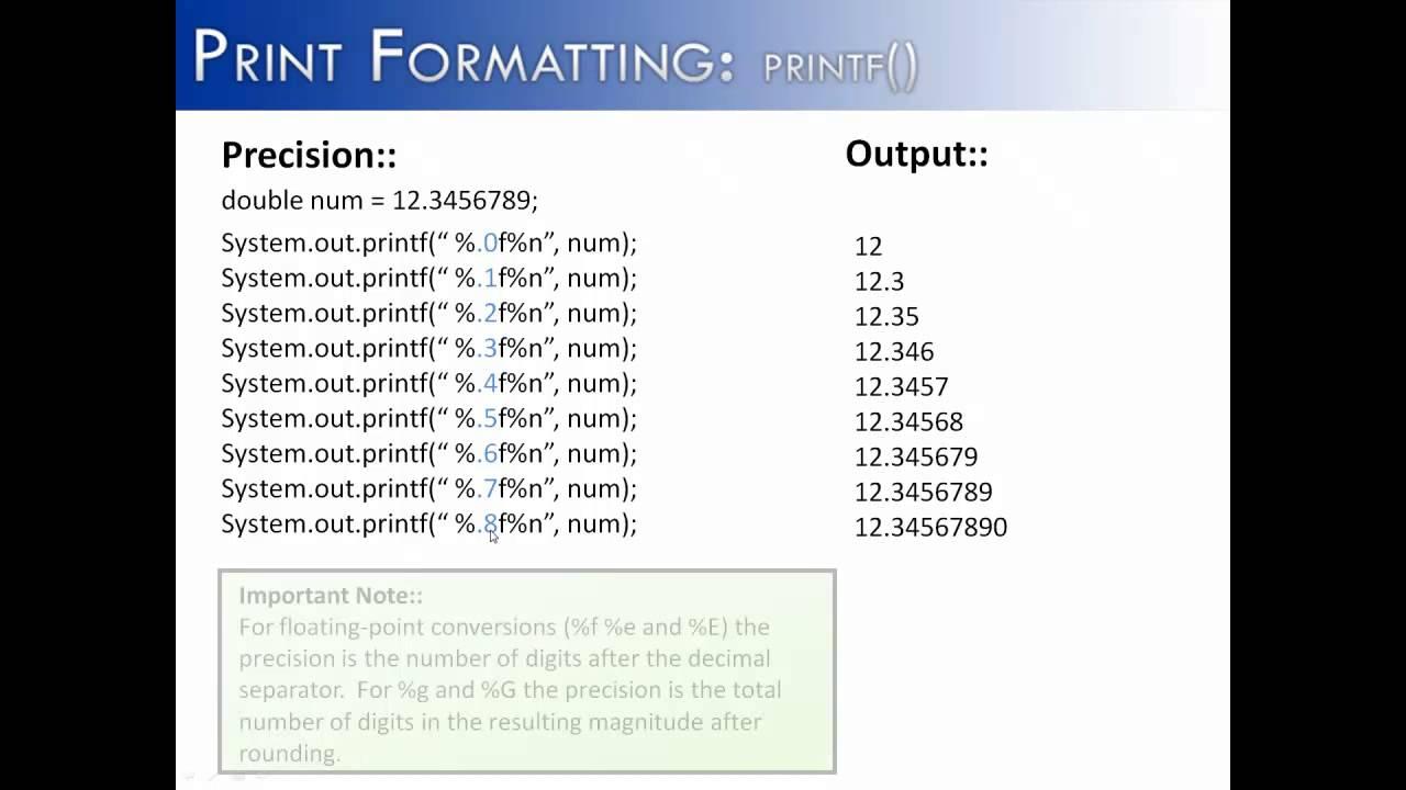 Print formatting part 3 printf precision java youtube print formatting part 3 printf precision java baditri Gallery