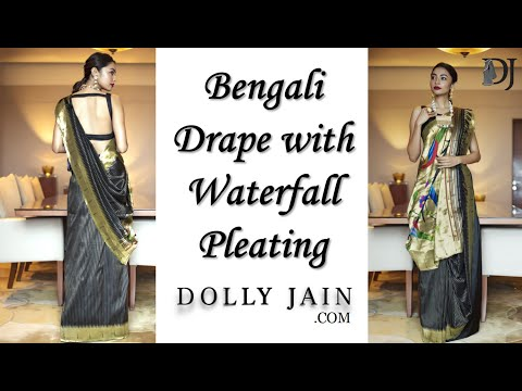 Bengali saree wearing style with waterfall pleating   Dolly Jain