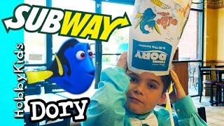 Subway Dory GOGGLES! Sandwich Lunch with HobbyFamily HobbyKidsVids