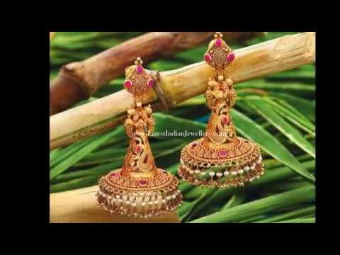 Antique Gold Earrings Designs Indian Antique Gold Jhumkas