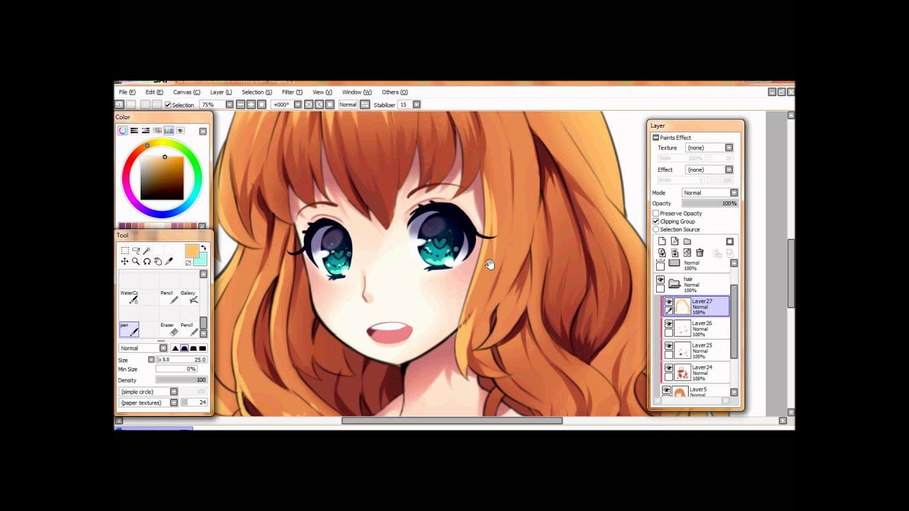 How To Do Hair In Paint Tool Sai