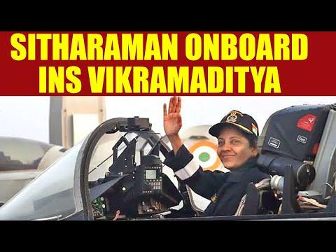 Nirmala Sitharaman onboard INS Vikramaditya, observes MiG-29K aircraft night takeoff   Oneindia News
