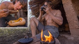 Cooking Squash & Tea on Rocket Stove and Making a Torch at the Hut
