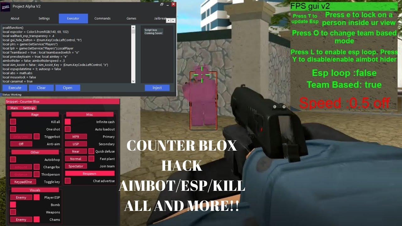 New Counter Blox Hack Exploit Roblox Aimbot Aimlock Esp Inf