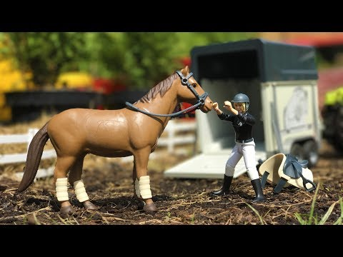 BRUDER TOYS horse transport - race horse on vacation! | Kids