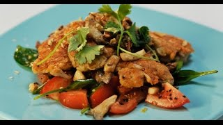 Салат с крокетами из мозгов и грибами | Субпродукты