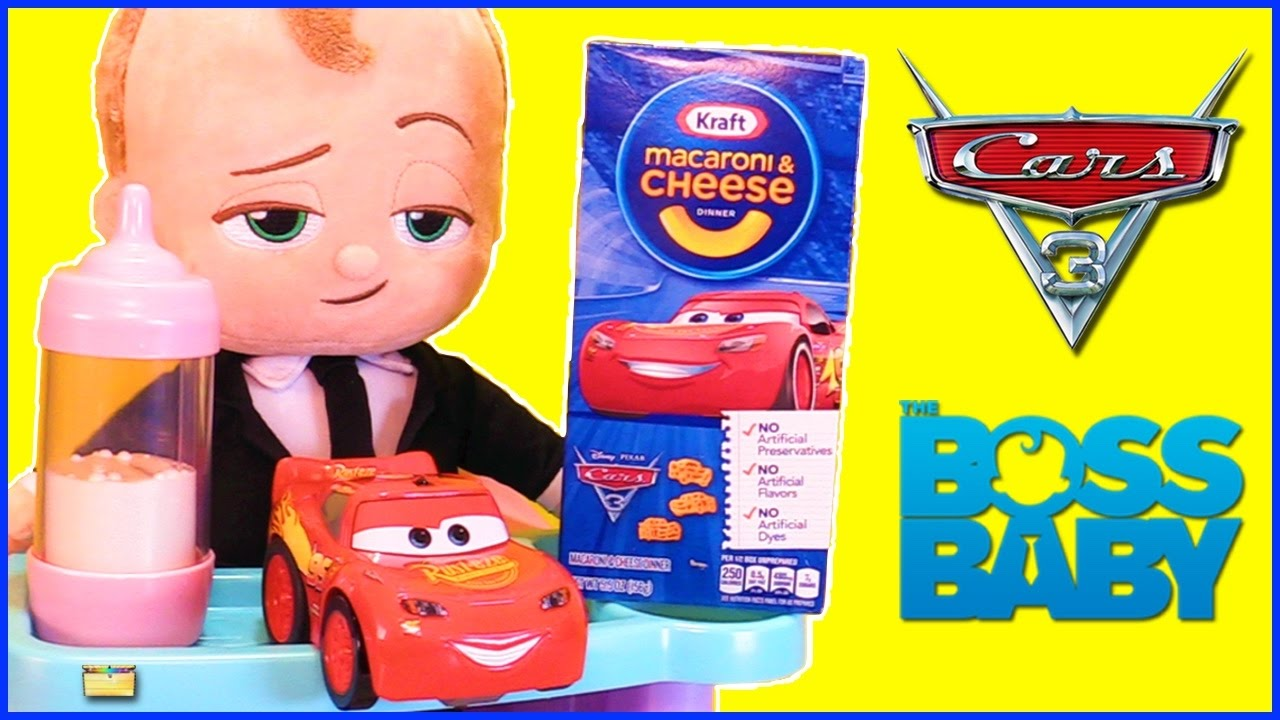 Feeding BOSS BABY Cars 3 Mac and Cheese Game w Servin Surprises – Disney Cars High Chair