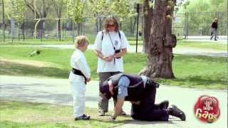 Karate Kid Kicks Cop in the Balls