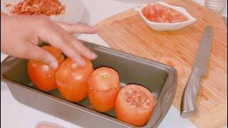 طماطم معمرة/ طماطم محشية / صينية طماطم بالارز واللحمة المفرومة