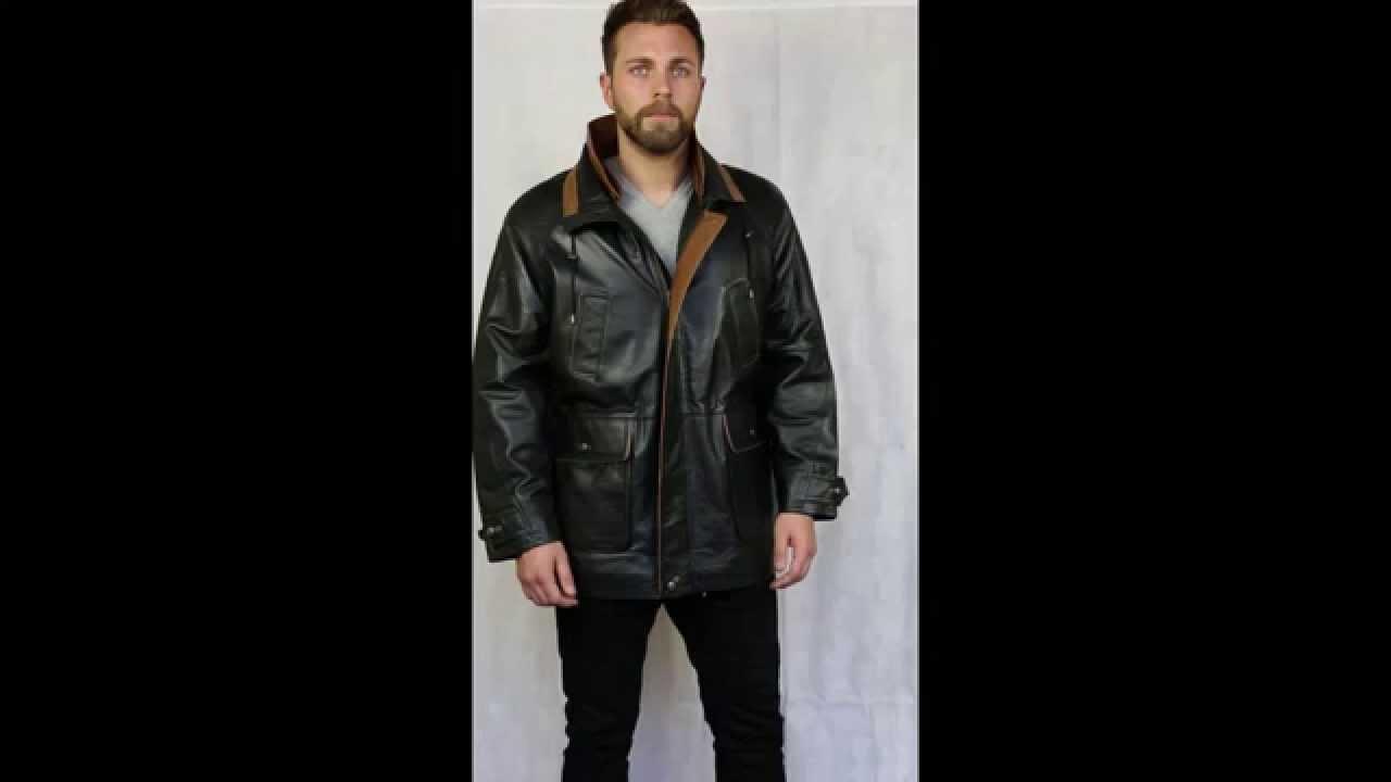 Men&39s Black Contrast Leather Parka Coat - Huxley - YouTube