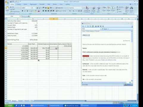 Bond Amortization Schedule In Excel - Youtube