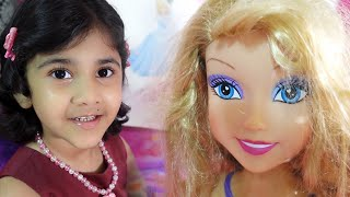 Hany's Barbie Hairs are SO MESSY !! Doll Styling Head Makeup Fun