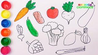 Учим название овощей | Как Нарисовать Овощи | Учим цвета для детей | Раскраска овощи|Учимся рисовать