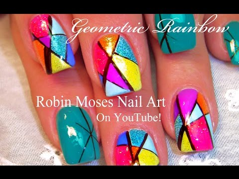 Easy Geometric Nails | Rainbow Stained Glass Nail Art Design