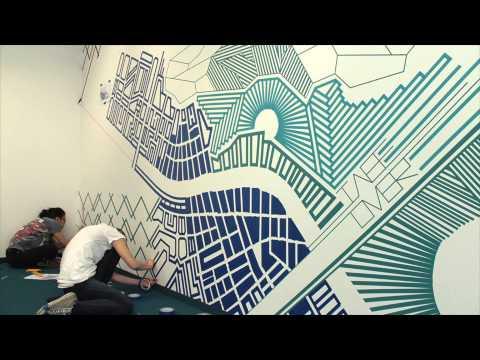 """TAPE ART by TAPE OVER // tape art mural """"blueprint"""" @ meinestadt.de // Cologne"""