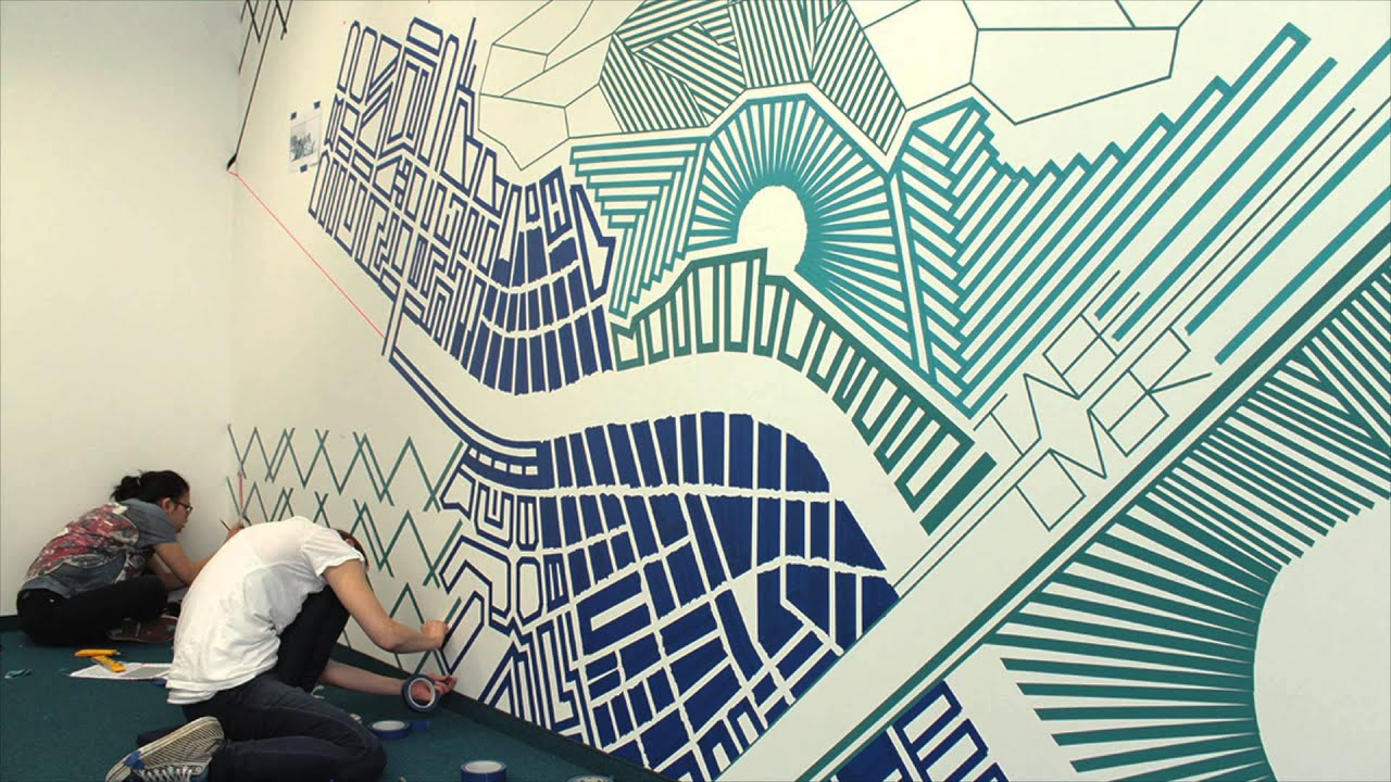 tape art by tape over tape art mural blueprint