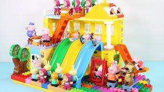 Peppa Pig Blocks Mega House Toys For Kids - Lego Duplo House With Water Slide Construction Sets #9