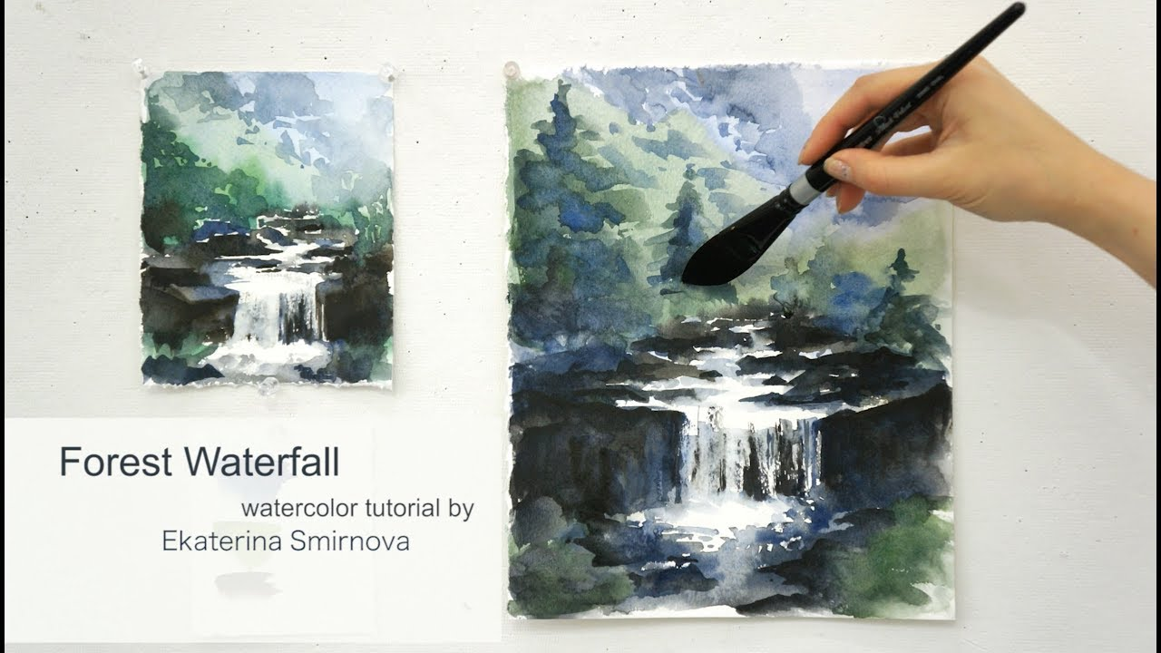 Forest waterfall advance watercolor tutorial youtube for Video tutorial on watercolor painting