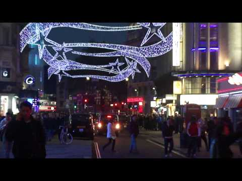 Standing on Coventry Street looking at the Christmas street lights & shops 11th November 2011