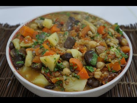 🍅 🍆 5 Bean Vegan Chili Stew Recipe - Healthy Vegetarian n Easy