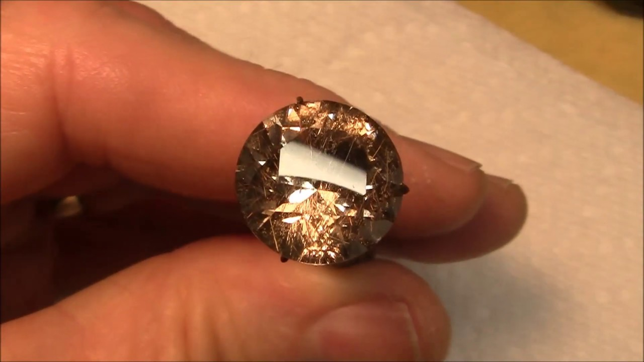 Faceting gemstones- Rutilated quartz