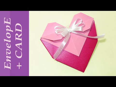 EASY Origami Heart Envelope with bow. DIY paper heart - envelope with pocket.