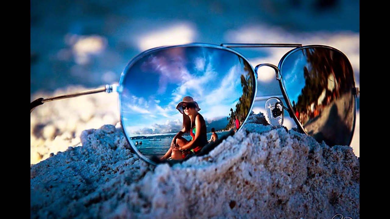 sunglasses creative reflection female models beach