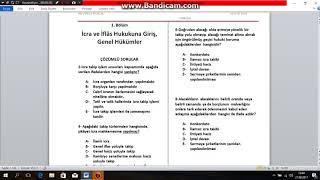 2018 KPSS İCRA İFLAS HUKUKU  GENEL HÜKÜMLER1