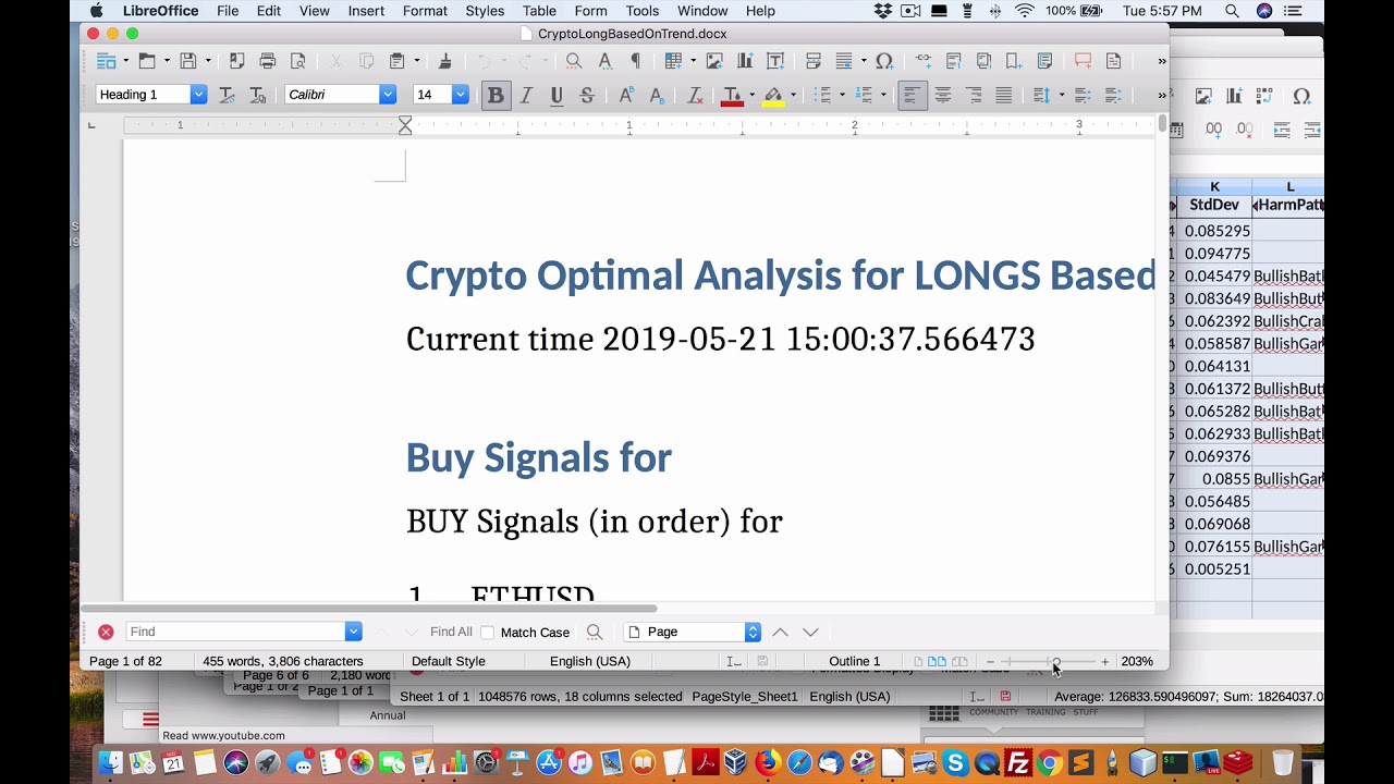 Latest deep analysis of current cryptocurrency market signals with spreadsheet