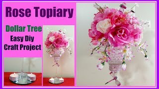 Rose Topiary DIY Dollar Tree Easy Wedding Centerpiece or home decor