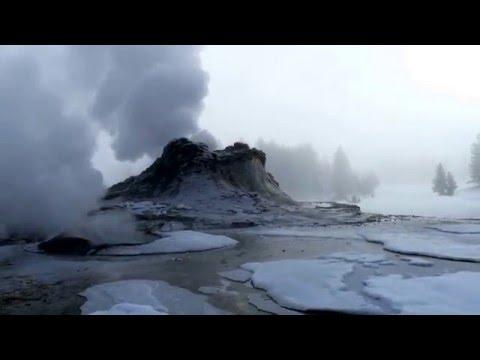 Geyser in Yellowstone's winter