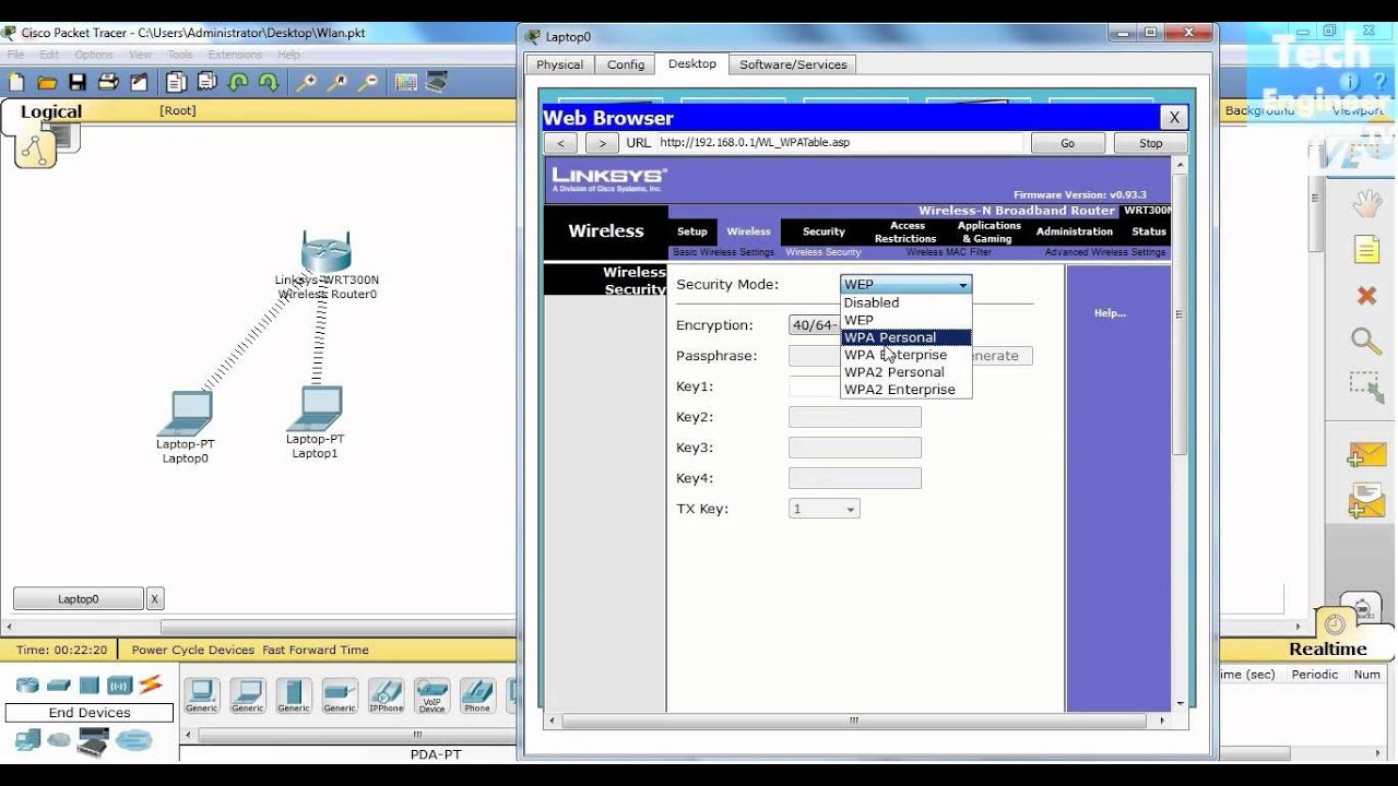 secure wireless router via wpa wifi protected access in packet tracer