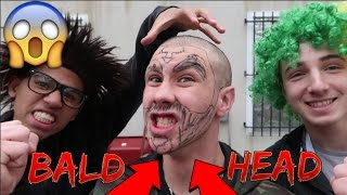 SHAVED HEAD AND EYEBROWS PRANK! (HE WAS PISSED)